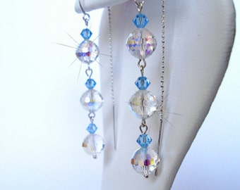 EARRING CHANDELIER handmade 925 silver and Swarovski crystals