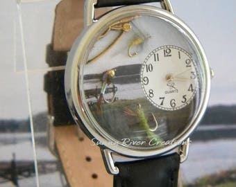 Fishing Watch with real tiny lures and fishing pole charm