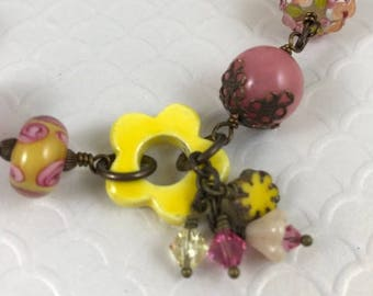 Statement Bracelet, Assemblage Bracelet, Summer Bracelet,  Beaded Bracelet Pink and Yellow Bracelet