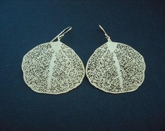 Bridesmaid Earrings, Matte Gold Filigree Leaf Earrings