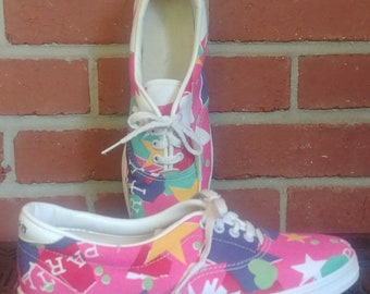 1980's Canvas Bowling Shoes Brunswick 8 Ladies 1980's Pink Yellow Geometric Shapes