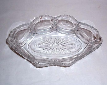 Antique EAPG Early American Pressed Glass Condiment Dish With Scalloped Rim - Possibly Flint Glass