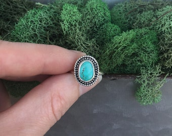 Sterling Silver Number 8 Turquoise Ring, Stacking Ring, Stackable Ring, Turquoise Ring