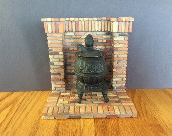 MasonryMiniatures #73- Miniature handmade brick wood stove pad /1:12 scale