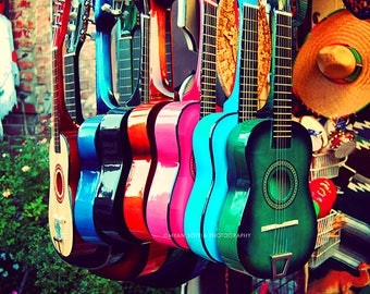 spanish guitar photography music photo gift for musician, colorful rainbow, LA latin inspired southwest decor, musical instrument, kids room