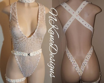 Exotic Dancewear, Cream Lace, One Piece Slingshot Bodysuit.  Stripper Outfits, Stripper Clothes, Stripper Wear, Ready To Ship