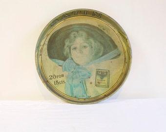 Vintage Tin Tray - 1970s Round Satin Turkish Cigarettes Tin Serving Tray