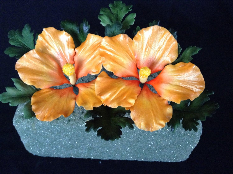 Gum Paste Hawaiian Hibiscus Cake Decorations Yellow And Orange