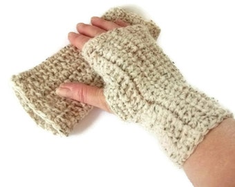 Medium Pair Crochet Fingerless Mittens/Gloves in Oatmeal Wool. Fashion Accessories, Wristwarmers, Handwarmers. Winter warmers.