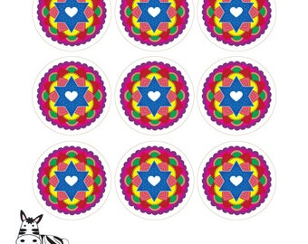 """Star of David Mandalas-2.5"""" Round Tags-Scrapbooking Printable-Labels-Gift tags-Jewish Art Projects-DIY Arts Paper Crafts-INSTANT DOWNLOAD"""
