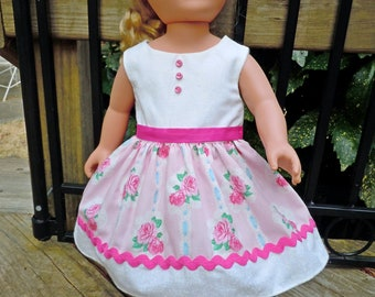 Pink and white flowered dress. Fits like 18 inch American Girl doll clothes, AG doll clothes, doll clothes, doll dress, pink doll dress