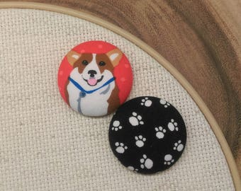 Corgi Needleminder, Dog, 1.5 inch Large Needle Minder, Scout and Remy, 2 Piece Reversible, Cross Stitch, Sewing, Embroidery