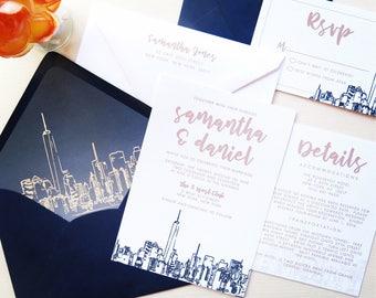 NYC Skyline Wedding Invitation Suite - Navy and Champagne Wedding Invitations