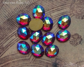 Vintage Cabochons -  10x12 mm Ruby AB - 6 West German Faceted Glass Stones
