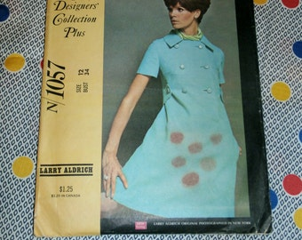 """1960s Vintage New York Designers Collection Pattern N 1057 for Misses' Dress in Two Versions Size 12, Bust 34"""", Waist 25 1/2"""", Hip 36"""""""