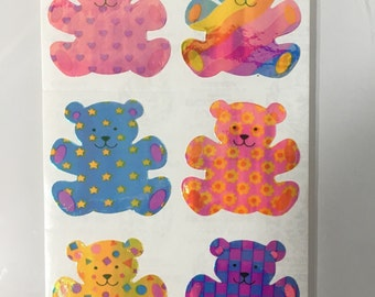 Vintage Set of Sandylion Pearl Rainbow Teddy Bears. 6 Stickers