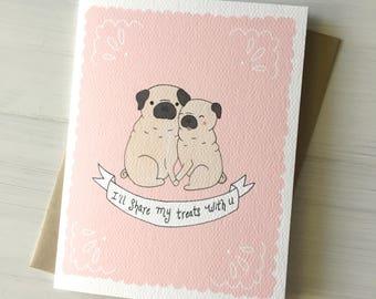 Pug Love - love card, pug card, anniversary card, card for her, card for him, valentine card, valentines day card, funny valentine