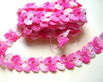 8 Feet Hand Crocheted Lace - Pink Lace - Pink Trim - Handmade