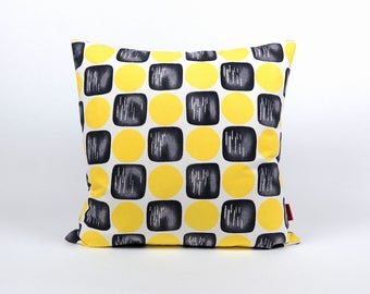 Yellow Pillow Cover - designer pillow - cushion cover 20x20 - mid century modern  decorative couch pillow handmade by EllaOsix