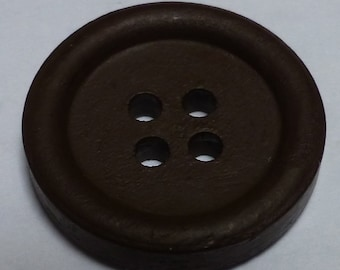 Small round hand painted wooden buttons – Brown