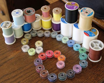 Thread Lot of 17 Spools AND 29 Pre-Wound Bobbins Various Colors 1 Button 1 Upholstery 2 Belding 1 Molnlycke Most Full Excellent Condition