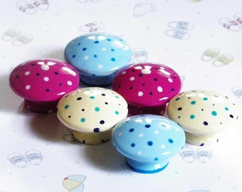 "Polka Dots Galore Knob Set for Kids Bedroom in Ivory, Blue, White or Fuchsia Pink.1.25"", Quick Way To Refurbish. Buy the Set or Individually"