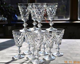 10 - Westmoreland Clear Thousand Eye Stem Juice Glasses