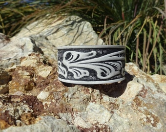 upcycled leather cuff/black white floral cuff/womans mens leather cuff bracelet/retro leather cuff/leather jewelry/tooled flower cuff/C115