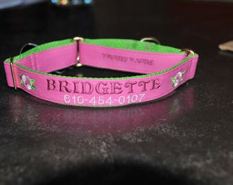 Personalized Name/Phone # Custom Embroidered Dog Collar created from Recycled Pink Denim Jeans Custom Dog Collar Buckle or Martingale Collar