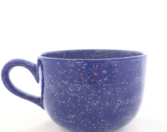 Latte Cappuccino Mug - Soup Bowl - Blue Speckled Large Ceramic Handled Bowl - 32 ounces