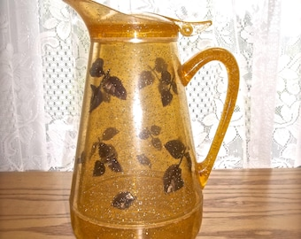 Plastic Glitter Pitcher, Gold Plastic Glitter Pitcher, Vintage Pitcher, Glitter & Leaves 1950's Pitcher, Mid Century Pitcher Plastic Pitcher