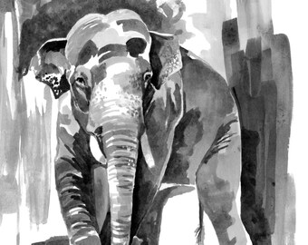 """Elephant Print Watercolor - Painting Titled, """"Asian Elephant"""" Watercolor Elephant, Elephant Decor, Elephant Art, Elephant Nursery, Elephant"""