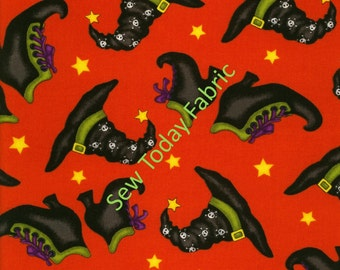 Witch Hats and Boots on Orange - Black Magic Collection by Dana Brooks - Henry Glass 9680-33 (sold by the 1/2 yard)