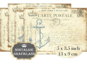 Nautical Maritim Postcard Anchor Seahorse Ocean Carte Postale Instant Download digital collage sheet P119