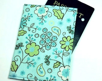 FREE SHIPPING UPGRADE with minimum -  Passport case / passport holder / passport cover : Spring Flowers in Blue