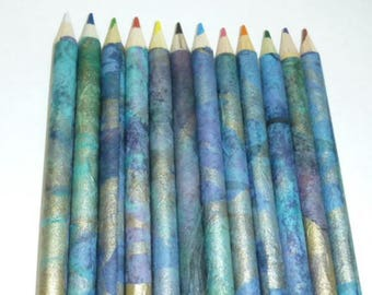 Fat Colored Pencil Set Hand Rolled Japanese Washi Paper Blue Green Gold Metallic Marbled Adult Coloring Set of 12 Carrying Case Sharpener