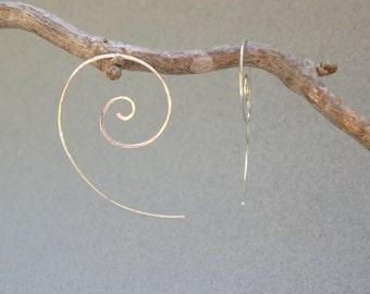Sterling Silver Spiral Earrings: Hand Hammered Sterling Silver Threader Earrings, Silver Nautilus Earrings, Minimalist Earrings