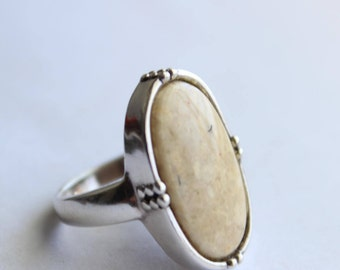 Sterling Silver and Ivory Color Stone Ring  Size 7 3/4- Free US Shipping