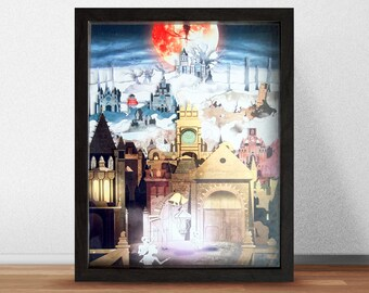 The Hunter's Dream - Shadowbox Art - Fantasy Artwork - Mixed Media Artwork - Diorama Art - Video Game Decor - Geek Gift - Gamer Gift