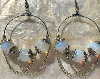 Tibetan Silver Triple Opalite Beaded Chain Dangle Earrings