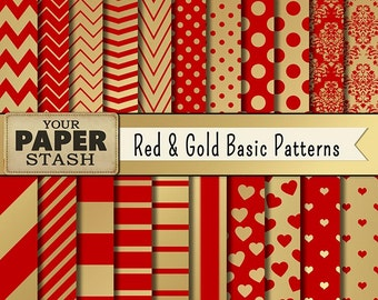 Red & Gold Digital Paper, Scrapbook, Chevron, Polka Dot, Stripe, Damask, Heart Backgrounds for Valentine's Day, Christmas, Anniversaries