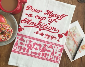 Dolly Parton Valentine Tea Towel, delux bandana print! limited edition pink and red Pour Myself a Cup of Ambition 9 to 5
