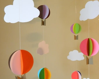 Oh The Places You'll Go Hot Air Balloon Garland / Up Up and Away Baby Shower Decor / Birthday Decor / DIY Hot Air Balloon Nursery Mobile