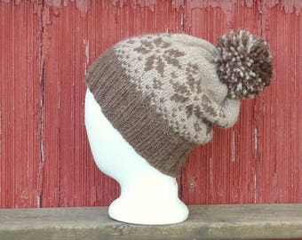 custom color hat with pompom hat wool, hand knit wool hat custom woman's hat. hand knitted hat choose your colors brown hat /made to order