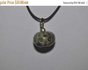Spring Clear Out Sale Lampwork Focal Bubble Pendant on Leather Cord