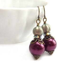 Wine Red Dangle Earrings - Pale Metallic Blue - Antiqued Bronze Vintage Style Earrings - Downton Abbey Style
