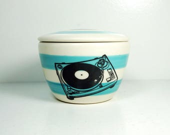 a lidded bowl / jar with a Turntable print shown here on Turquoise Blue stripes READY TO SHIP