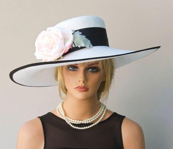 Church Hat, Wedding Hat, Derby Hat, Black and White Hat, Garden Party Hat, Wide Brim Hat, Big Hat