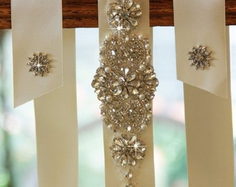 "18"" Wedding Sash Belt, Bridal Belt, Sash Belt, Wedding Dress Sash, Crystal Rhinestone Belt"