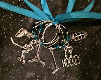 Wine charms, hockey, sports, wine markers, hostess gift, Mother's Day